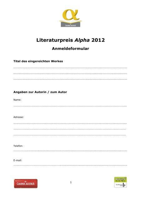 Literaturpreis Alpha 2012