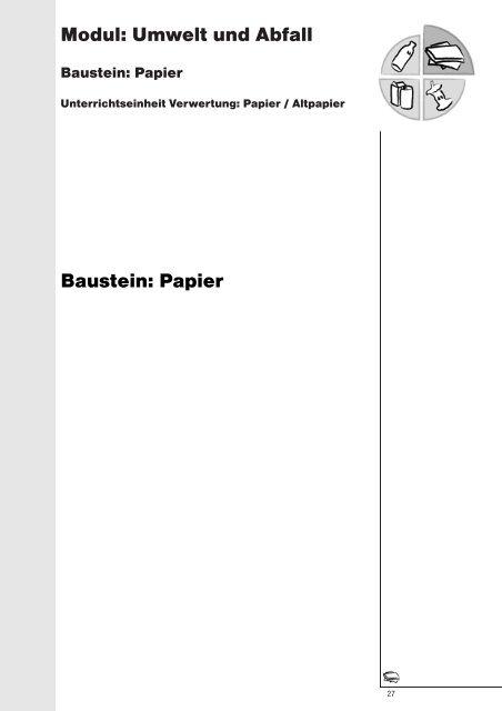 Modul: Umwelt und Abfall Baustein: Papier