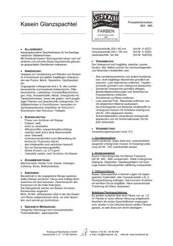 Datenblatt Kasein Glanzspachtel - Kreidezeit