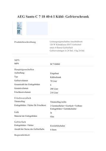 AEG Santo C 7 18 40-6 I Kühl- Gefrierschrank - Mein ...