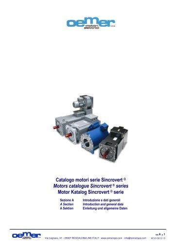 Catalogo motori serie Sincrovert ® Motors catalogue ... - Oemer