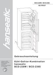 Gebrauchsanleitung Kühl-Gefrier-Kombination hanseatic BCD ...