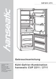 Gebrauchsanleitung Kühl-Gefrier-Kombination hanseatic CUP 2211 ...