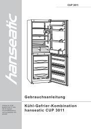 Gebrauchsanleitung Kühl-Gefrier-Kombination hanseatic CUP 3011