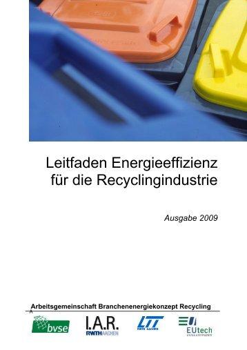 Leitfaden Energieeffizienz in der Recyclingindustrie - WIN