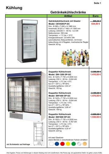 1. Kühl- & Gefrierschränke - Gastro-Ausverkauf.de