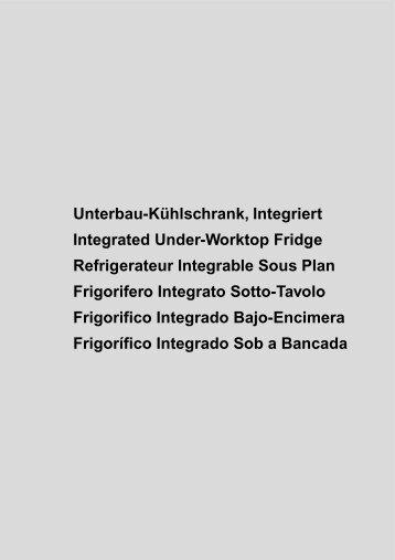 Unterbau-Kühlschrank, Integriert Integrated Under-Worktop Fridge ...