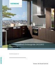 Verkaufshandbuch Einbaugeräte 2012/2013 - Siemens