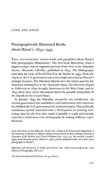 Photographically Illustrated Books about Hawai'i, 1854-1945 - eVols