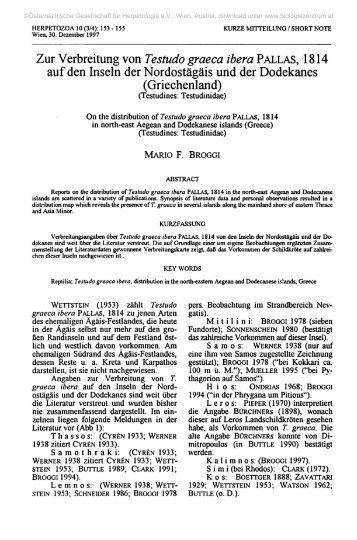 Zur Verbreitung von Testudo graeca ibera PALLAS, 1814 auf den ...