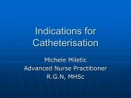 Indications for Catheterisation - Fitwise Association Management
