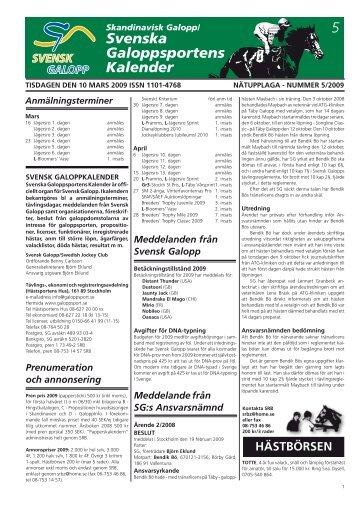 5 Svenska Galopp sportens Kalender - Øvrevoll Galoppbane
