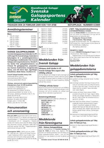 4 Svenska Galopp sportens Kalender - Øvrevoll Galoppbane