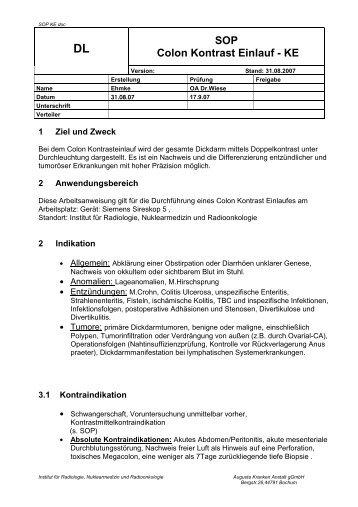 Colon-Kontrasteinlauf - Institut für Radiologie, Nuklearmedizin und ...