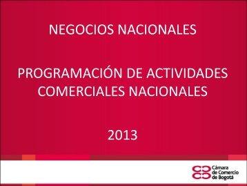 NEGOCIOS NACIONALES PROGRAMACIÓN DE ACTIVIDADES COMERCIALES NACIONALES 2013