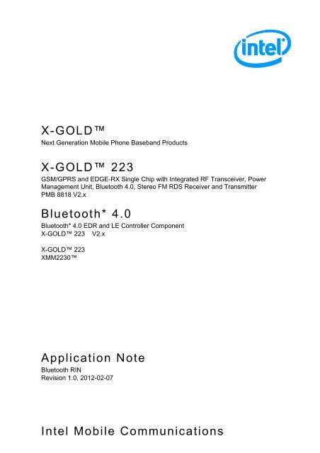 Intel Mobile Communications X-GOLD™ Application ... - Bluetooth.org