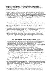 Satzung über die Betreuung von Kindern in Kindertageseinrichtungen