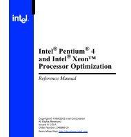 Intel ® Pentium ® 4 and Intel ® Xeon™ Processor Optimization