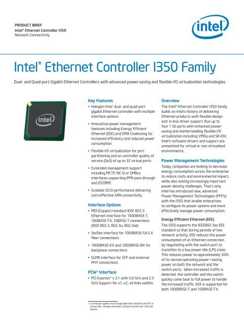 Intel(r) Ethernet Controller I350 Family Product Brief v001