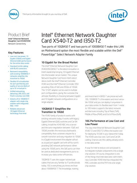 Intel® Ethernet Network Daughter Card X540-T2     - Intel