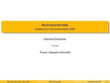 Rechnerarithmetik - Vorlesung im Sommersemester 2008