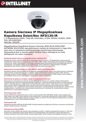 Kamera Sieciowa IP Megapikselowa Kopułkowa Dzień/Noc ...