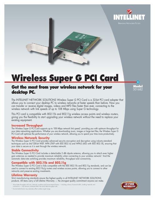 INTELLINET WIRELESS SUPER G PCI CARD DRIVERS (2019)