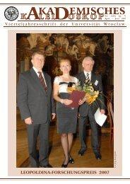 LEOPOLDINA-FORSCHUNGSPREIS 2007