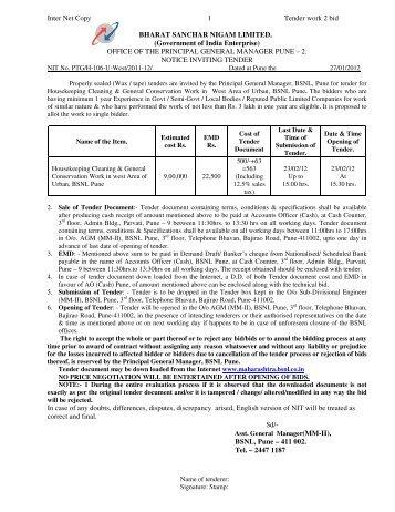 Inter Net Copy 1 Tender work 2 bid BHARAT SANCHAR NIGAM ...