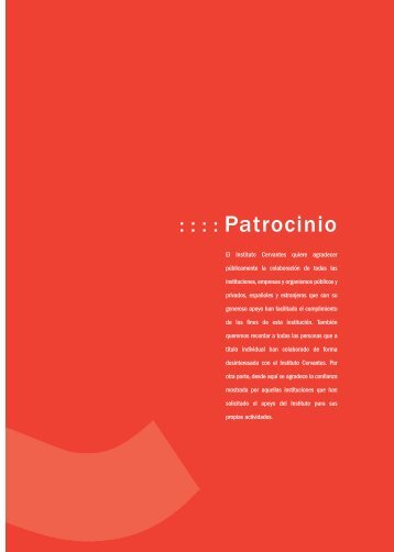 Patrocinio (143 Kb) - Instituto Cervantes