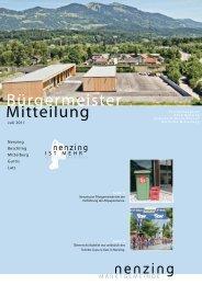 Bürgermeistermitteilung 11/02 - Marktgemeinde Nenzing