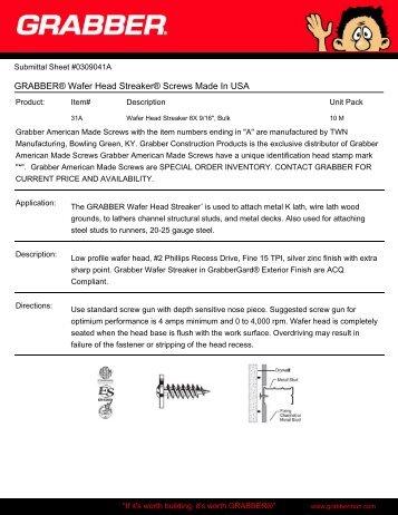 GRABBER® Wafer Head Streaker® Screws Made In USA