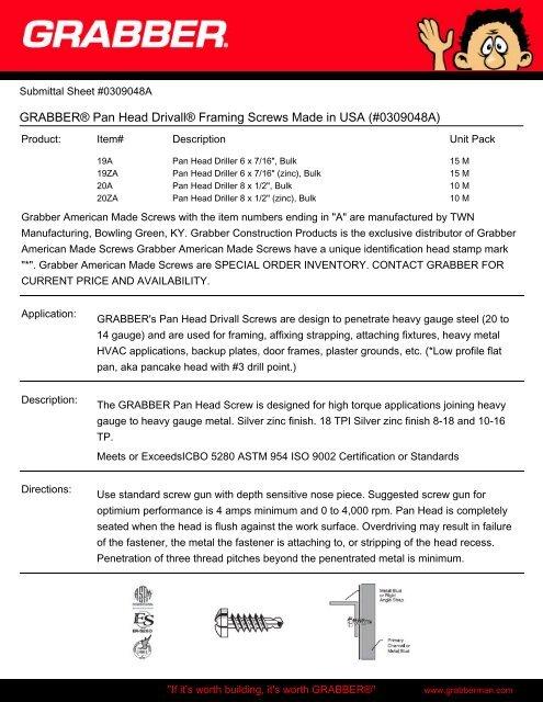 GRABBER® Pan Head Drivall® Framing Screws Made in USA
