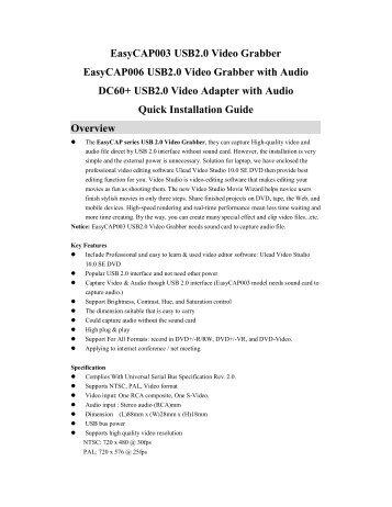 EasyCAP003 USB2.0 Video Grabber EasyCAP006 USB2.0 Video ...