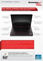 Thinkpad Edge S430 Datasheet - Lenovo