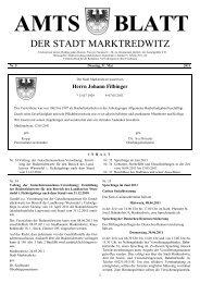 AMTS BLATT - Stadt Marktredwitz