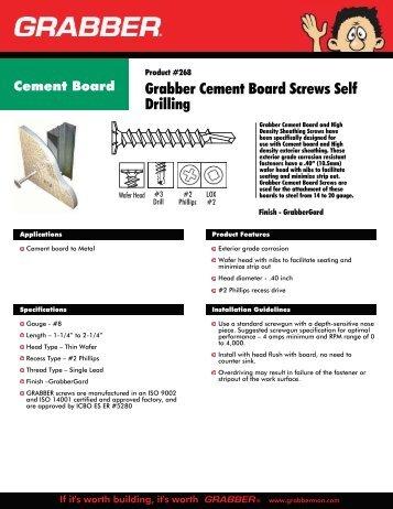 Grabber Cement Board Screws Self Drilling - EU