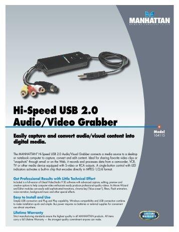Hi-Speed USB 2.0 Audio/Video Grabber - Manhattan