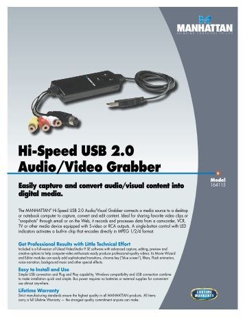 Hi-Speed USB 2.0 Audio/Video Grabber - Manhattan