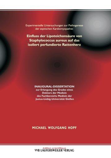 Experimentelle Untersuchungen zur Pathogenese der septischen ...