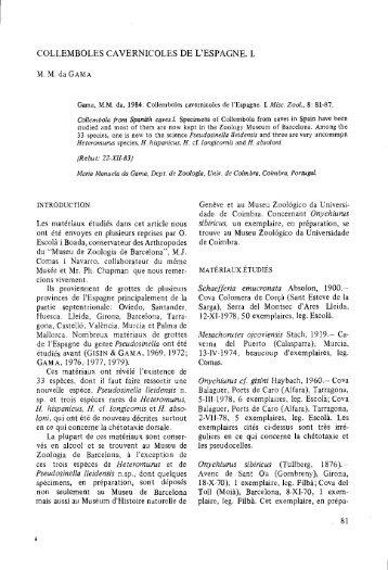COLLEMBOLES CAVERNICOLES DE L'ESPAGNE. 1.