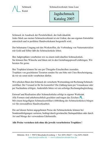 Jagdschmuck Katalog 2007 - Schmuckwerkstatt Anna Luse