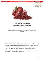Wirkungen des Granatapfels auf die menschliche Gesundheit