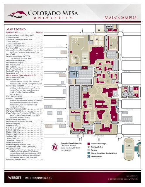 Colorado Mesa University Map Main Campus Map   Colorado Mesa University