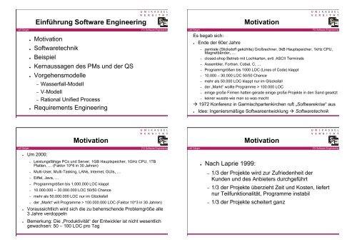SE1 20061115 Vorgehensmodelle - Software Engineering Kassel
