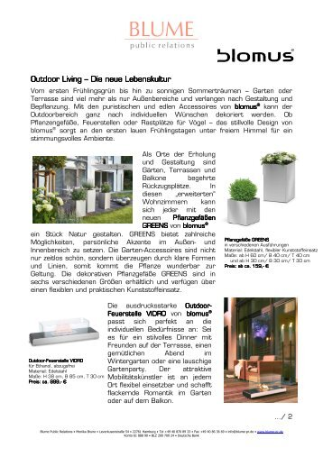 Outdoor Living Outdoor Living – Die neue Lebenskultur ... - Blume PR