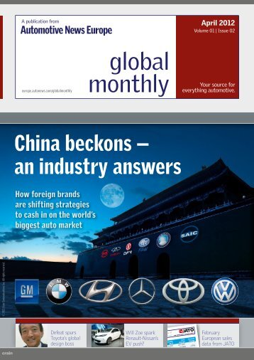 APRIL Global Monthly: China beckons -- an ... - Automotive News