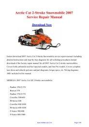 Arctic Cat 2-Stroke Snowmobile 2007 Service Repair Manual
