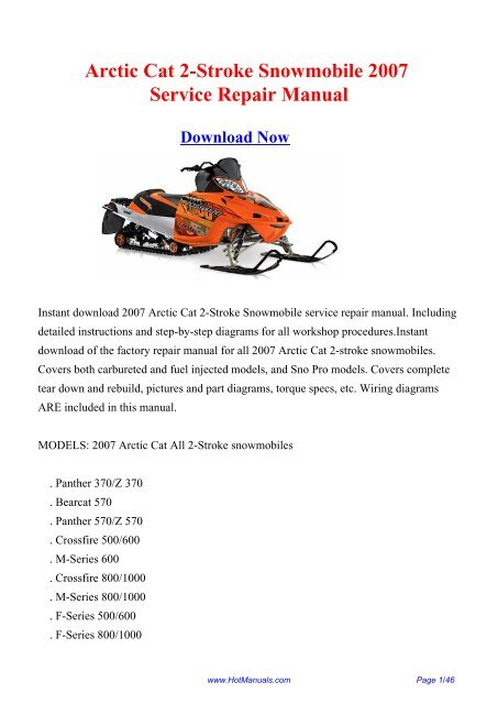arctic cat 2-stroke snowmobile 2007 service repair manual  yumpu