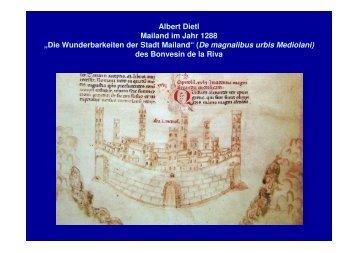 """Albert Dietl Mailand im Jahr 1288 """"Die Wunderbarkeiten der Stadt ..."""